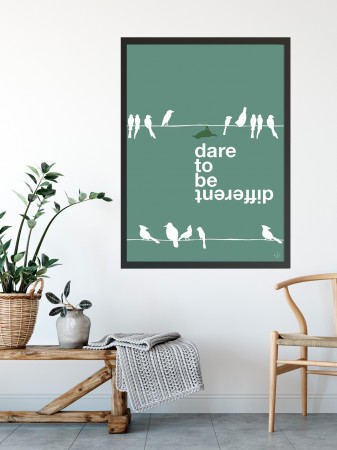 Plakat - Dare to be different, green bird