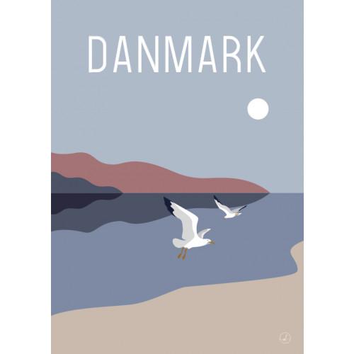 Plakat - Danmark dejligst, måger i par