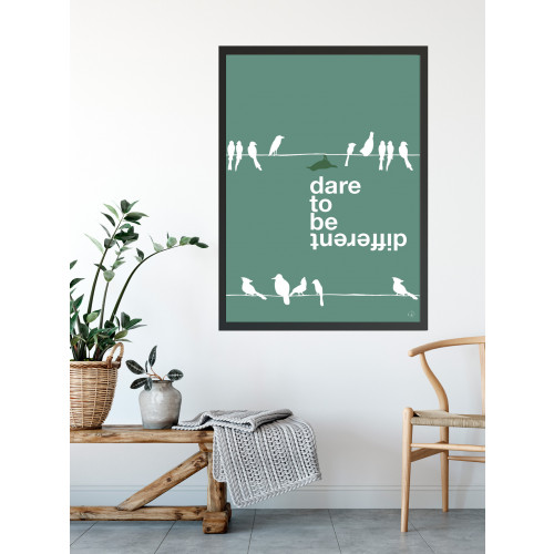 Plakat - Dare to be different, green bird