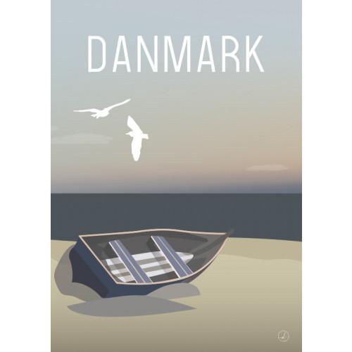 Plakat - Danmark dejligst, Jolle på strand