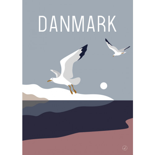 Plakat - Danmark dejligst, måger ved stranden