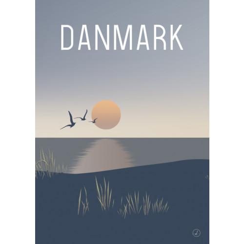Plakat - Danmark dejligst, Solnedgang ved Vesterhavet