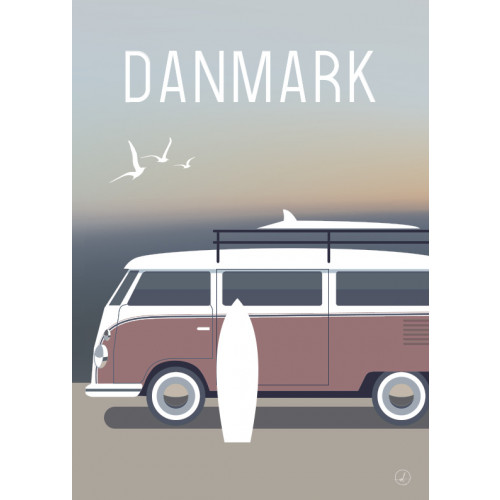 Plakat - Danmark dejligst, Surfervan Lyserød